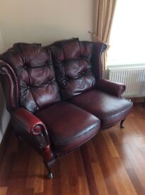 Oxblood High-back chair & Two seater