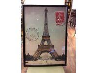 "Vintage ""Eiffel Tower"" poster in black frame"