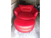 DFS Cuddle Chair and Foot stool.