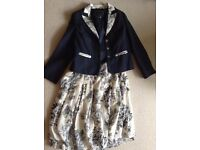 Navy Blue & white Ladies skirt and co-ordinating jacket in cotton & Linen, size 16 from Coast