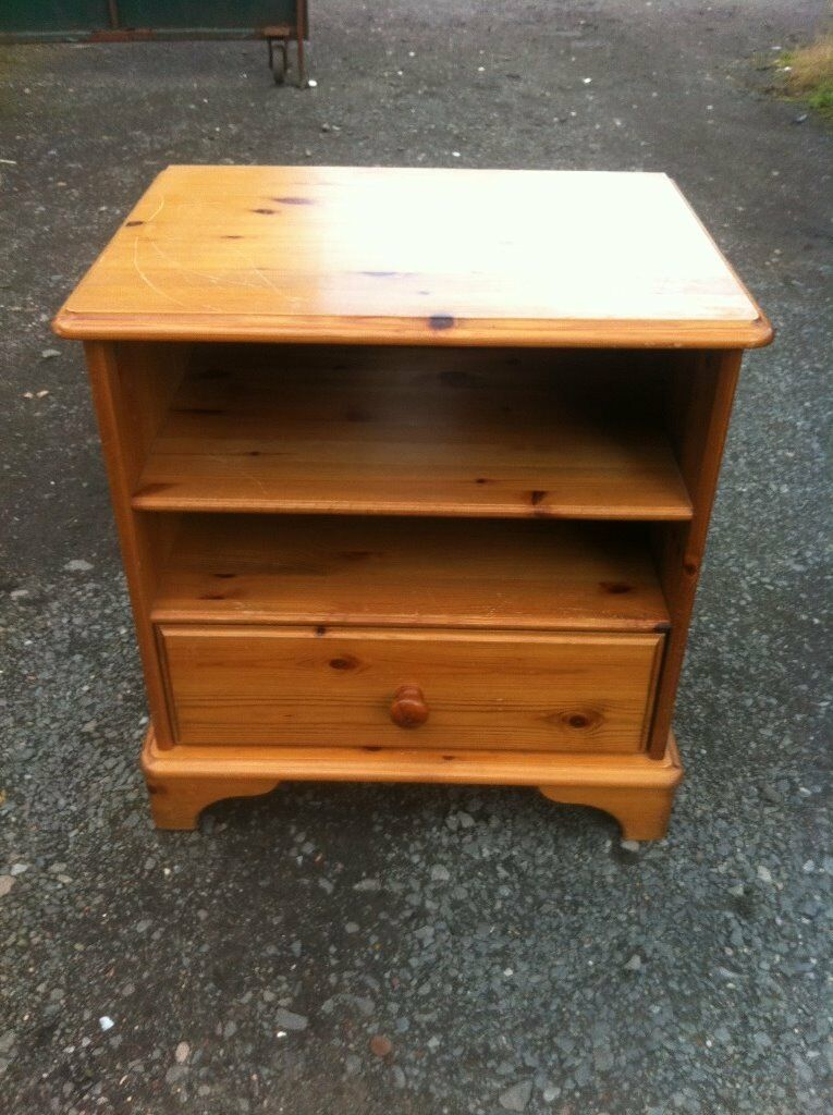 Solid pine unit with shelf and drawer