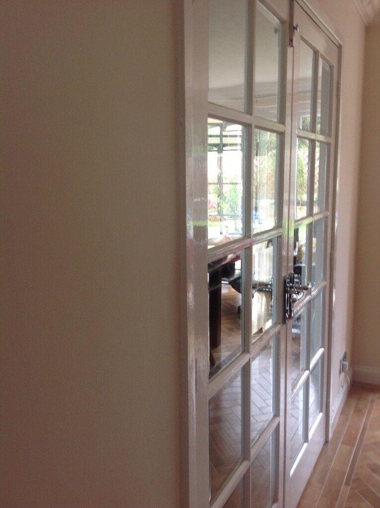 Double 10 Panel Bevelled Glass Doors 1950 X760mm In Billingham
