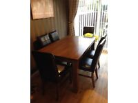 Solid Wood Dining Table and 6 X Leather Chairs