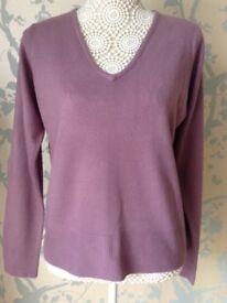 Women's Clothing Mauve Super Soft V Neck Jumper Size 14 BNWT