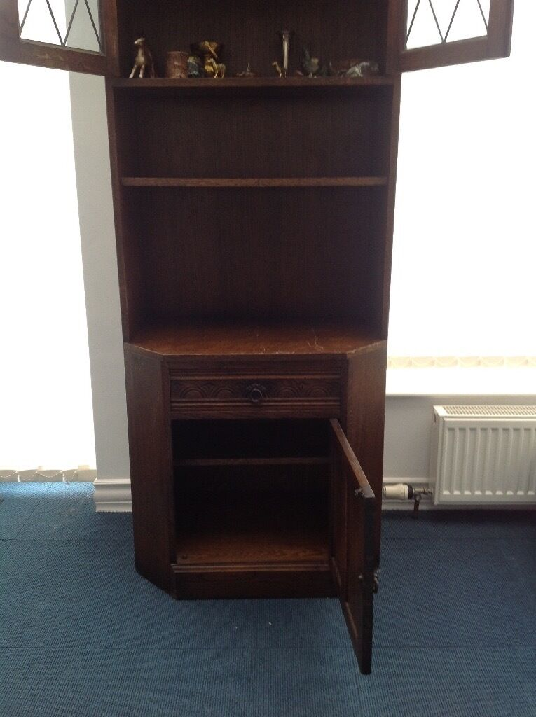 Display Cabinet Solid Dark Wood Storage Unit With Leaded Gl Doors