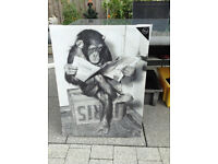 A1 Canvas - FUNNY picture - Chimp reading a newspaper - NEW SEALED EX CONDITION - only asking £5