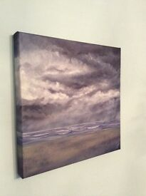 Original oil painting on canvas. Gathering Storm. Size 40cm square. Cornish artist.