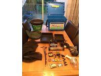 Complete Match fishing set, Seatbox, Trolley, rod, reel, rod holdal, floats etc