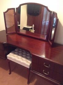 For sale - solid wood Dressing Table & Stool, Mahogany colour.