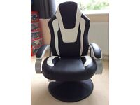 BLACK AND WHITE LEATHER LOOK OFFICE GAMING RECLINING CHAIR