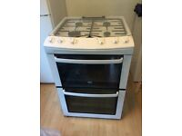 Zanussi double gas over, grill and hob, white 600mm wide / depth