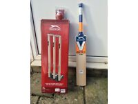 Slazenger V800 Titan Cricket bat, ball and practice wickets, all brand new, never been used.