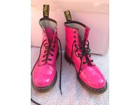 Hot pink Dr Martens boots, UK size 6, hardly worn