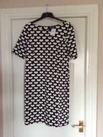 Brand new Wallis Black&White Dress with a touch of navy