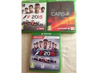 X BOX ONE games F1 2015 /F1 2016 /PROJECT CARS. In good condition.