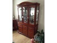 John E Coyle Real cherry wood glass display cabinet, coffee table & stereo cabinet