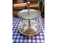 Lovely cake stand, looks like pewter, nice engraved pattern, from BHS