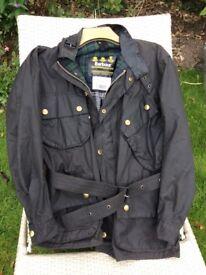 Barbour vintage waxed black jacket.