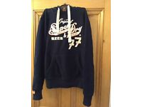 Navy Superdry mens hoody, Size Small (S)