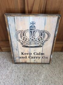Shabby Chic Keep Calm and Carry On Framed Picture Sign