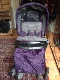 Purple graco stadium pushchair double pram