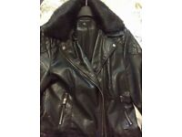 DP ladies faux leather black biker jacket