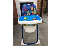 Excellent condition - Fisher price Ocean Wonders High Chair, 7 height settings, 3 position recline.