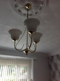 3 light ceiling light fitting with 2 matching wall lights with glass shades