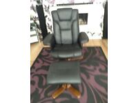 Black leather computer/office chair & stool