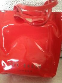Ted baker pink plastic shopper bag