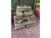Reclaimed York Stone patch faced for walling