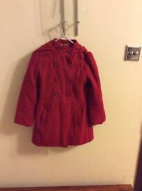Marks & Spencer girls red hooded coat age 7-8 years