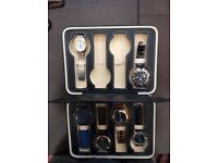 Watches - selection of 6 men's dress and casual watches in a beautiful leatherette presentation case