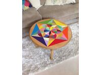 Stunning hand painted oak coffee table, unique sacred geometry artwork in rainbow colours