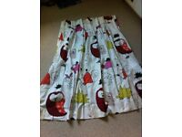 Beautiful homemade curtains and matching lampshade - perfect for a nursery / child's bedroom