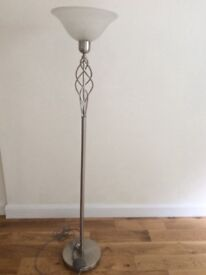 Near perfect condition silver nickel floor lamp