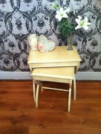 SHABBY CHIC NEST OF TABLES -poss shabby chic project-vintage TV STAND