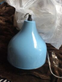 Blue enamel pendant light fitting