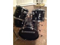 Ludwig 5 piece drum set with crash and ride symbol