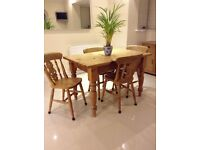 Farmhouse PINE TABLE (4') and FOUR CHAIRS