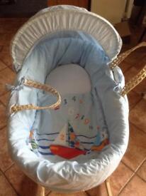 Clair de lune Moses baskets and boys clothes