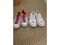 2 pairs of girls converse trainers size 2