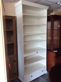 LARGE WHITE BOOKCASE WITH TWO DRAWERS VGC