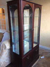 Beautiful solid wood display cabinet with 3 glass shelves and bottom cupboard 2 integral lights