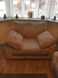 DFS 3 seater sofa,large armchair and footstool with storage.