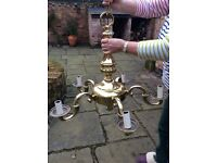 Antique brass 5 bulb chandelier