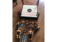WWE figures and wrestling ring