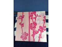 2 x Square Congrasting Pink Flower Pictures. 51cm x 51 cm. Stretched Canvas into wooden frame.