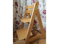Wooden High Chair - style of Tripp Trapp.