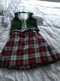 Highland dancing outfit, kilt, blouse, waistcoat. Suit 6-8year old.